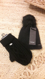 Firetrap Bobble Hat and Mittens Set NEW