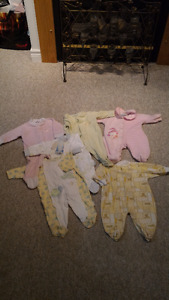 6 full Onesies with feet