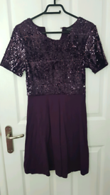 BRAND NEW Purple Size 10 Sequin Skater/Fit & Flare Dress