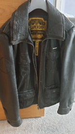 Men's Superdry Leather Jacket Medium