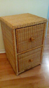 Funky wicker LETTER size 2 drawer filing cabinet with hangers