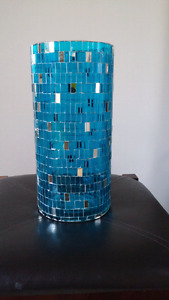 "10"" High turquoise and silver glass vase/candle holder"