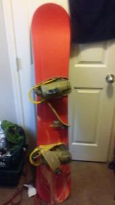 Snowboard with Burton bindings