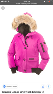 XS Canada Goose CHILLIWACK BOMBER PINK