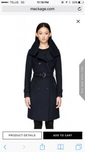 Brand New Mackage Wool Coat - Navy + Leather