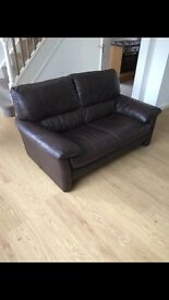 Chocolate Brown Leather Sofa Set