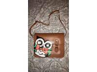 Vintage Satchel Bag with Owl Print