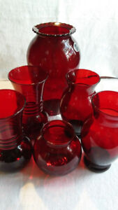 Vintage Anchor Hocking Vases Royal Ruby Red Glass Various Sizes