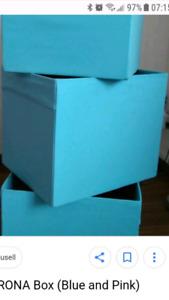 Recherche 2 boites Drona ikea soit rouge, blue turquoise ou gris
