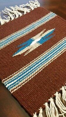 Chimayo 100% Wool Textile 10 X 10 Dark Brown  Weaving Made in  Northern N.M. USA