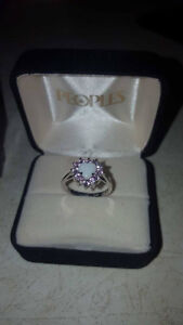 White gold opal heart ring Size 7