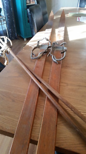 Beautiful wooden cross-country skis with poles (Chalet)