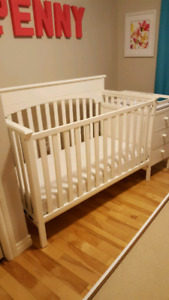 Crib, mattress and attached change table with three drawers