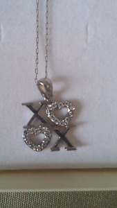 Never worn White gold 10k XO necklace