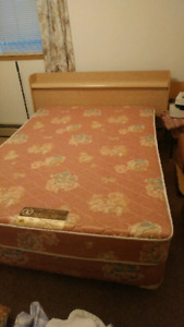 Double bed, box spring and mattress, with headboard and frame