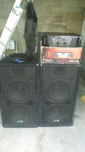 "Yorkville double 15"" pa speakers. 3way. dual 15"" drivers"