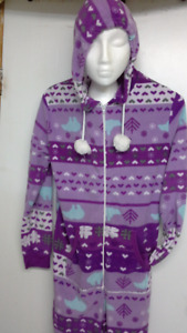super soft purple Christmas onesie pajama for adult. size Large