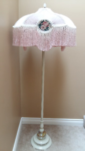 TWO VINTAGE FLOOR LAMPS WITH SHADES FOR SALE