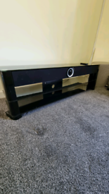 """65 to 70"""" TV glass TV stand with sound bar"""