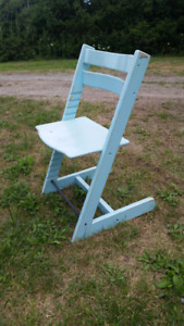 Teal wooden accent chair $25