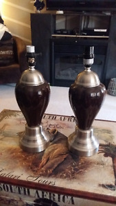 Brown and Brushed Nickel Lamp Bases ONLY