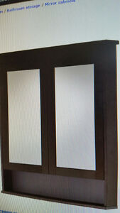 Ikea Hemmes Mirror Cabinet - 2 doors - black brown stain