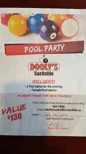 Pool Party At Sackville Dooly's $130 value, Asking $40