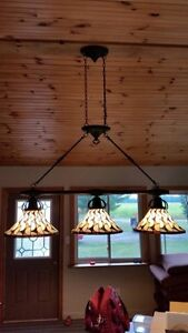 Billiard or Harvest Table Light Fixture Stained Glass