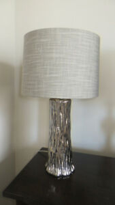 Shiny Silver table lamp and Taupe Shade