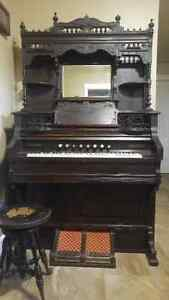 Antique Doherty Organ with stool