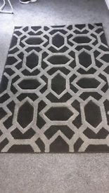 Black grey rug