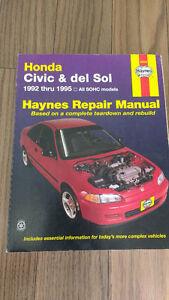 Honda Civic & Del Sol Haynes Repair Manual 1992 thru 1995