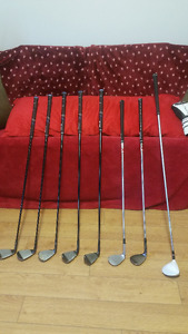 CALLAWAY FORGED XF IRONS; 2 CLEVELAND WEDGES; ADAMS 3 WOOD