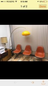Vintage Brass Arc Lamp with orange-yellow lucite shade