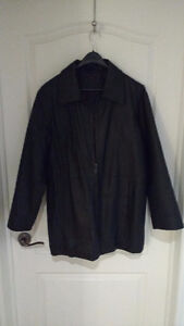 sams unique treasures, black leather coat