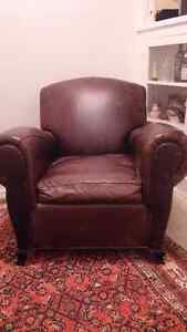 DISTRESSED LEATHER CLUB CHAIR $450 OBO