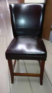 Brown Leather Bar Stool Chairs (2)