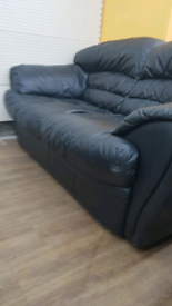 Black leather 2 seater sofa set