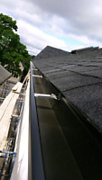 Eavestrough soffit fascia downspipe and leaf gurd