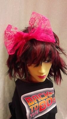 Pink Lace Scarf Headband Bow 1980s Fancy Dress Accessory Dance Fame Madonna