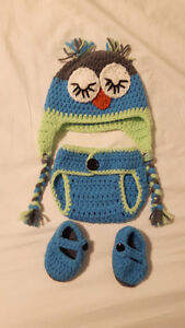 Adorable Knit Owl Hat & Diaper Cover & Booties