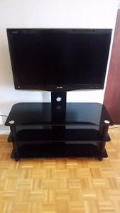 "Sharp 32"" AQUOS® LCD HDTV + Black Glass TV Stand"
