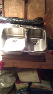 evier cuisine 2 cuves, robinet peerless