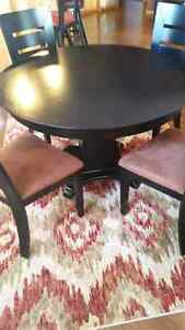 Solid Wood Black Table + 4 Table Chairs and 3 Island Chairs Regina Regina Area image 2