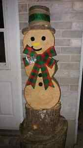 Wooden log Christmas Snow man delivered to you door! Kingston Kingston Area image 6