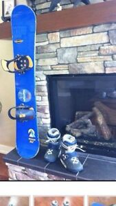 Snowboard, boots and bindings.