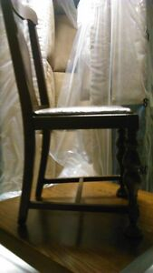 Solid wood antique dining chair with brown leather seat Kitchener / Waterloo Kitchener Area image 3