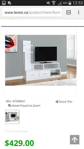 stand tv white brand new obo
