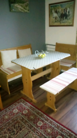 Lovely oak bench set dining table and benchs