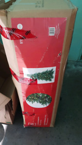 Artificial Christmas Tree with Lights and Stand